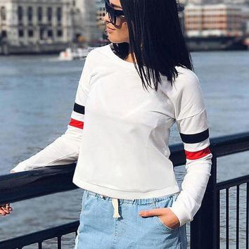 VON7TL Long Sleeve Stripes White Pullover Hoodies [256908689434]