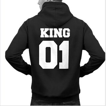 New Winter Autumn 2017 Couple Hoodies Fashion Casual Long Sleeves King Queen Printed Men And Women Crewneck Pullover Sweatshirts