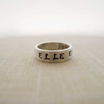ELLE EST FORTE, She is Strong, Proverbs 31, Hand Stamped Silver Ring