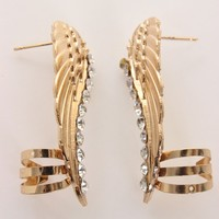 Gold Rhinestone Textured Wing Post Cuff Earrings