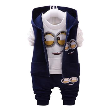Brand Boys Girls Baby 1-4 Yellow 3piece Suit Kids Clothes Minion Children's Clothing Long-sleeved Tracksuits