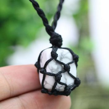 Petrified Power Natural Stone Men Necklace Wire Hemp Wrap Pendant Macrame Boho Jewlery B61 25*26mm Irregular Shape