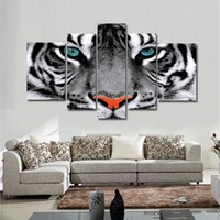 Modern Wall Art Poster Modular Canvas Paintings 5 Pieces Animal White Tiger Eyes Pictures Frame Decor Living Room Home HD Prints