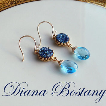 VALENTINE SALE Titanium Druzy Earrings, Swiss Blue Topaz Briolettes, Gold Earrings, December Birthstone, Gift, Limited Ed