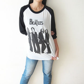 The Beatles Shirt John Lennon Paul Mccartney Classic English Pop Rock Baseball T Shirts raglan TShirts Long Sleeve Tee Shirt Size M