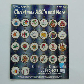 Christmas ABC's & More Cross Stitch Pattern Booklet 50 Ornaments by Kount On Kappie