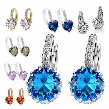 Luxury Flower Charm Assorted Crystals Ear Stud Earrings