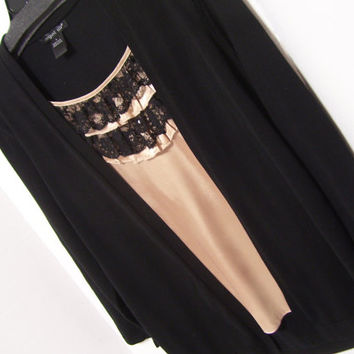 Dressy Rich Black Sweater Look of 2fer with Gold Attached Camisole Black Lace Sequins August Silk