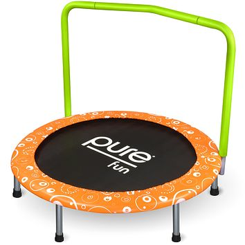 Pure Fun Foldable Kids Trampoline with Handrail, Spring Free, 36-inch