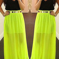 Black and Yellow Sleeveless V-Neck Maxi Dress