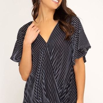 Flutter Sleeve Velvet Ribbed Blouse