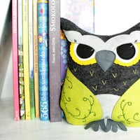 Green Owl Pillow Felt Owl Pillow Stuffed Toys Home Decor Pillow Decoration Gray Owl