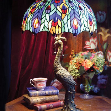 "Victorian Tiffany Stained Glass Jeweled Peacock Table Lamp Light Base 28""H"