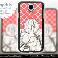 Monogram Galaxy S4 case S5 Real White Tree Camo Coral Quatrefoil Personalized RealTree Samsung Galaxy S3 Case Note 2 3 Cover Country Girl