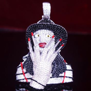 Men's Freddy Krueger Iced Out Horror Nightmare Pendant Chain