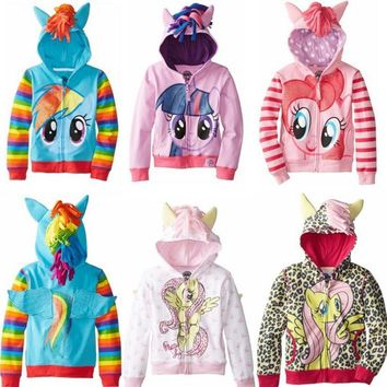 Girls Kids The Pony Wing Friendship Is Magic Toddler Horse Cosplay Costumes Children Hoodie Cute Sweatshirt Coat Zipper Jacket
