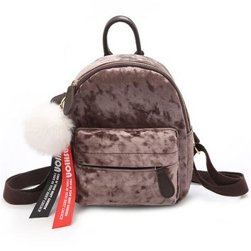 Girls bookbag Women Small Backpack Vintage Cute Girls Women Fur Ball Bookbag Travel School Shoulder Bag New Fashion 2018 THINKTHENDO AT_52_3