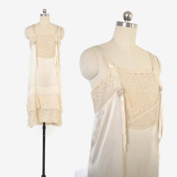 Vintage 20s SILK SLIP Dress / 1920s Ivory Silk & Lace Ribbon Trim Nightgown