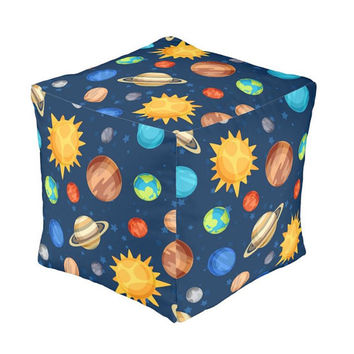 OTTOMAN Pouf, PLANETS Nursery Decor, Baby Blanket, Zipper Throw Pillow, Baby Monogram, Boy Nursery Bedding Set, Outer Space Nursery Rug
