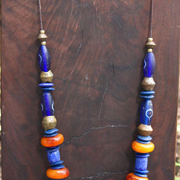 Antique African Trade Bead Necklace w Old Moroccan Copal Amber Russian Blue Glass and Bronze Beads from Nigeria Ethnic Tribal Jewelry