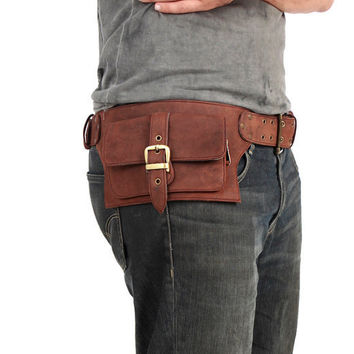 2 Pocket men's leather belt bag in brown belt by Shovavaleather