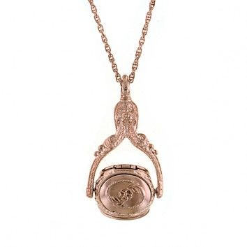 Rose Gold-Tone 3-Sided Rotating Locket Necklace