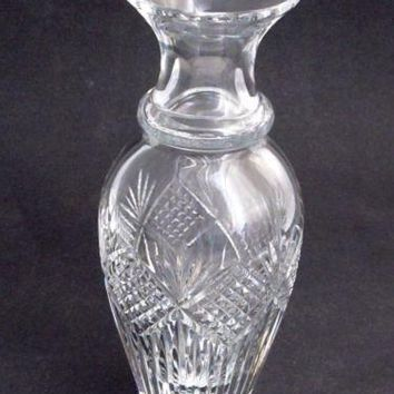 "Old Cut Glass 11"" vase Crystal heavy"