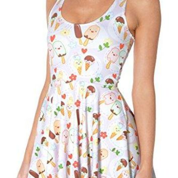 QZUnique Womens Cartoon Printed Stretchy Sleeveless Pleated Fit and Flare Skater Dress