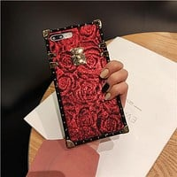 Luxury Frosted red rose trunk case for iphone