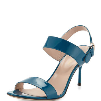 Patent Leather Slingback Sandal, Blue - Sergio Rossi