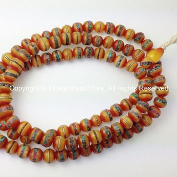 108 Beads - 10mm size Tibetan Amber Copal Mala Prayer Beads with Turquoise, Coral, Brass & Copper Inlays - PB16