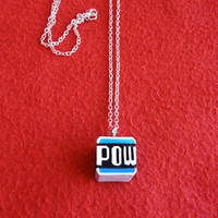 Super Mario 'POW Block' pendant necklace by DeardenDesign on Etsy
