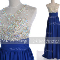 Royal Blue Prom Dresses, 2014 Prom Gown, Straps with Open Back Lace and Chiffon Long Roytal Blue Prom Dresses, Fomal Dresses