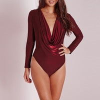 Long Sleeve Cowl V-Neck Velvet Romper