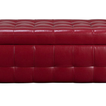 Diamond Sofa Home Furniture Zen Collection, Bonded Leather Lift Top Tufted Storage Trunk Red