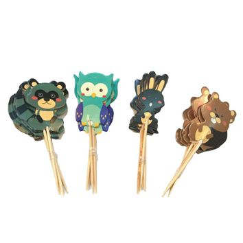 24pcs Jungle Safari Cupcake Picks Animal Cake Toppers Cartoon Cupcake Inserts Card Birthday Baby Shower Kids Party Supplies
