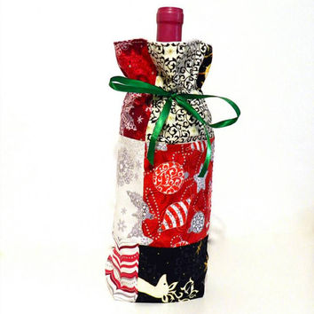 Winter Holiday Christmas Red, Silver, Black Gold Patchwork Fabric Reusable Drawstring Gift Bag Present Gift Wrap Wine Hostess Bag Sleeve