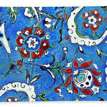 An Ottoman Iznik Style Floral Design Pottery Polychrome, By Adam Asar, No 15b - Bath Towel