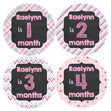 Personalized Baby Girl Monthly Stickers Style #486