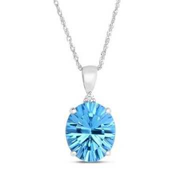 Oval Blue Topaz and Diamond Accent Pendant in 14K White Gold