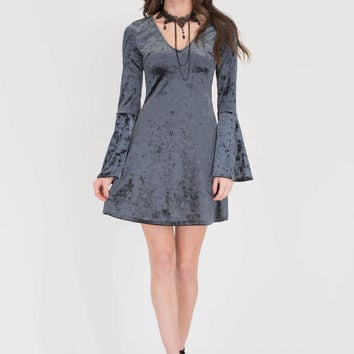 Crushin' Hard Velvet Bell Sleeve Dress