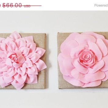 "MOTHERS DAY SALE Two Wall Flowers Light Pink Dahlia and Light Pink Rose on Burlap 12 x12"" Canvas Wall Art- Rustic Home Decor-"