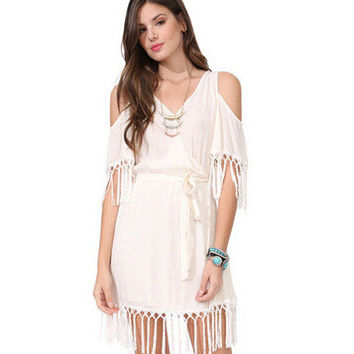 Summer Women's Fashion Stylish Star Tassels Chiffon Strapless One Piece Dress [6338878657]