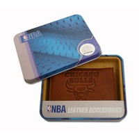 Chicago Bulls Leather Trifold Wallet (Brown)