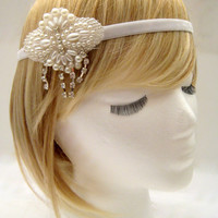 The Louisa - 1920s wedding headpiece, Gatsby wedding hairpiece, Great Gatsby bride, 1920s bridal hair, bridal head wrap pearl