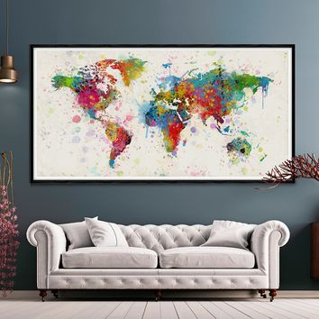 World Map Wall Art, Large Push Pin Poster, Adventure Travel Map, Soft Color Decoration Object, Home, Office, Living Room Decor -L8