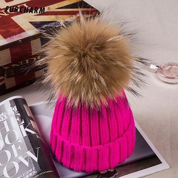 Baby hat Thicken Knitted Hats for Children with Pompom Genuine Raccoon Fur Ball Tops Kids Cashmere Knitted Caps Winter hats