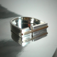Sterling Silver, 9k gold Statement ring, D shaped Modern Unisex Ring