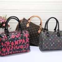 """Louis Vuitton"" Women Fashion Multicolor Classic Letter Logo Print Pillow Handbag Single Shoulder Messenger Bag"