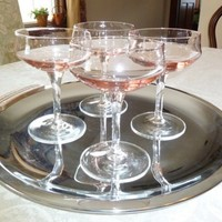 Vintage Mid Century Modern Pink Champagne Glasses, Set of Four,Crystal